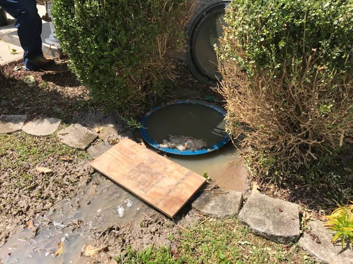 grinder pump basin overflowing with sewage 9-29-17