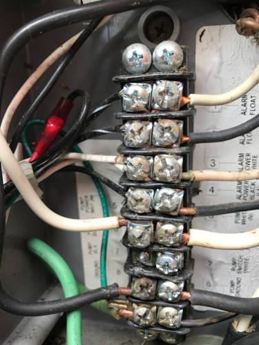 wire corrosion from not sealing off sewer gases in control panel 9-29-17